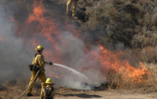 Firefighters Participate in Training Exercise with Live Fire in Castaic