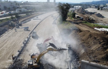 I-5 Burbank Bridge Demolition Videos, Sunday, 4-26-2020